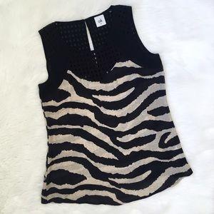 CAbi Zebra Print Tank Top Blouse Style 5046